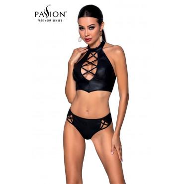 Bustier et string faux cuir Nancy - Passion