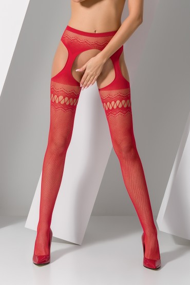 Collants ouverts S013 - Rouge